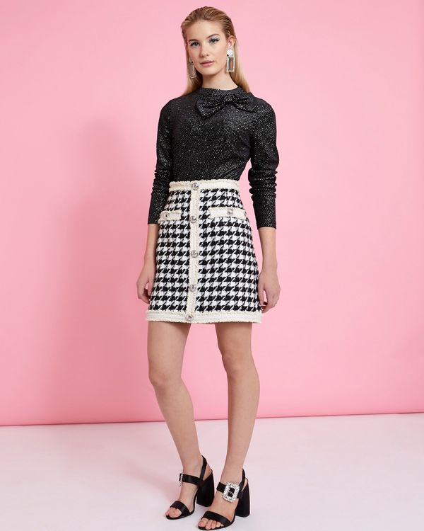 Savida Houndstooth Pattern Skirt