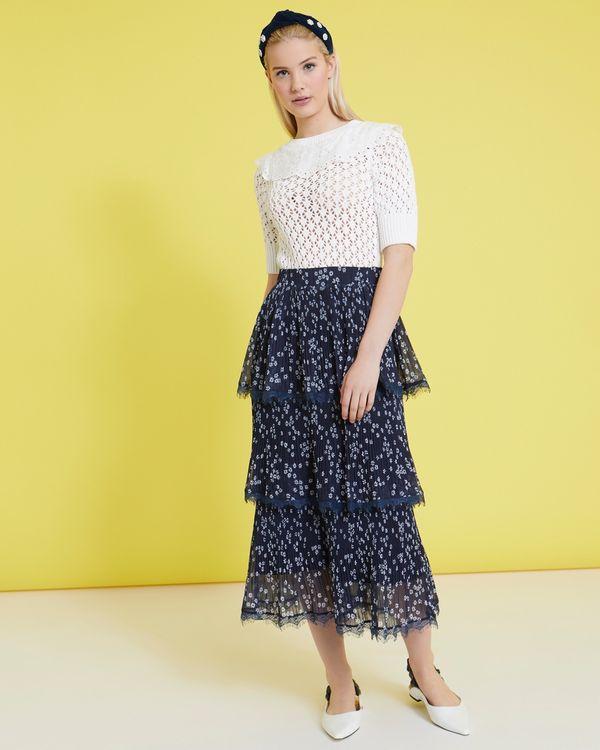 Savida Lace Layered Print Pleat Skirt