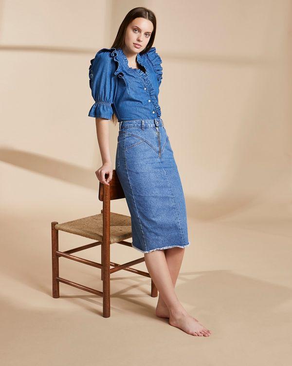 Savida Organic Denim Zip Midi Skirt
