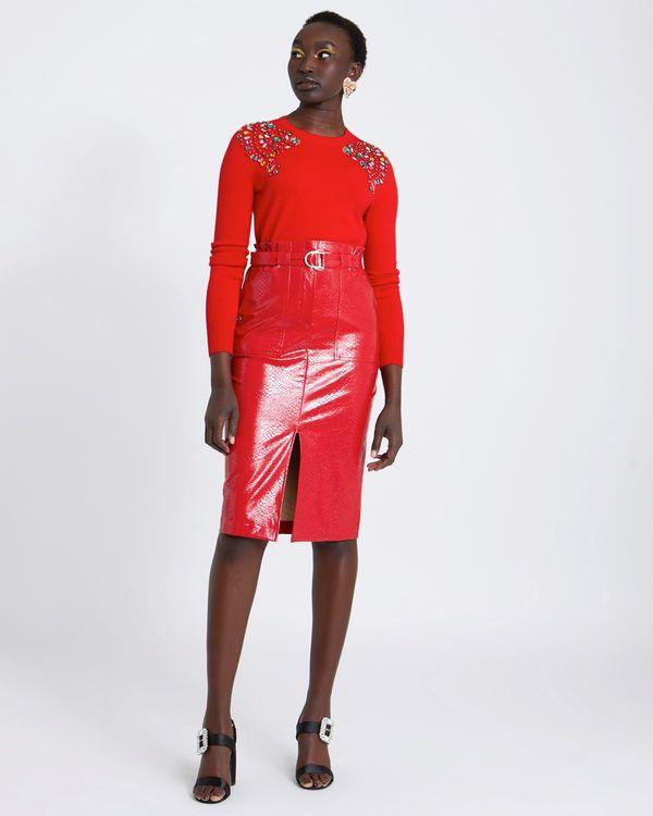 Savida PU Skirt With Belt