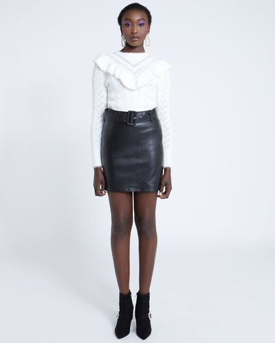 Savida PU Mini Belted Skirt