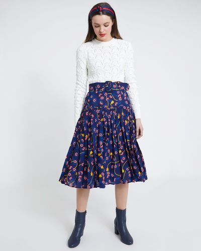 Savida Pleat Print Skirt