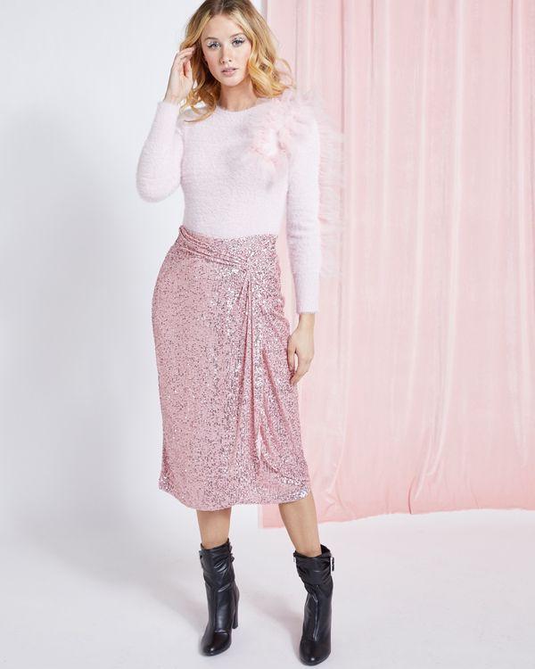 Savida Twist Sequin Midi Skirt