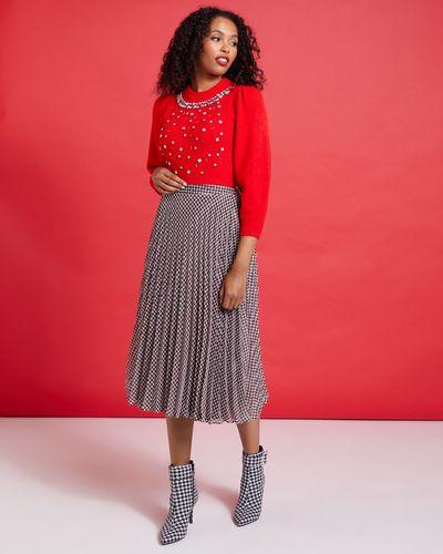 Savida Victoria Pleat Houndstooth Skirt