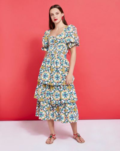 Savida Tiered Print Midi Skirt
