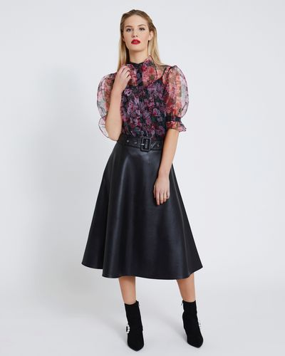 Savida PU Midi Skirt With Belt