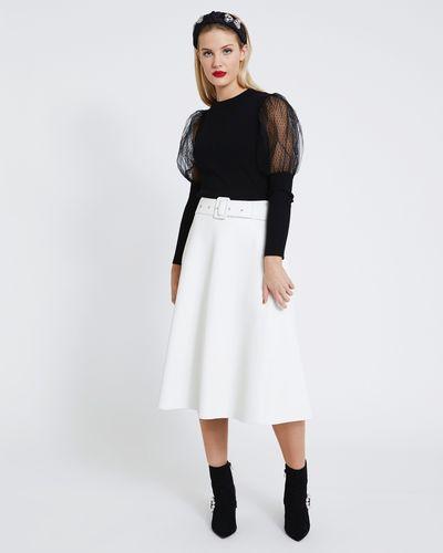 Savida PU Midi Skirt With Belt