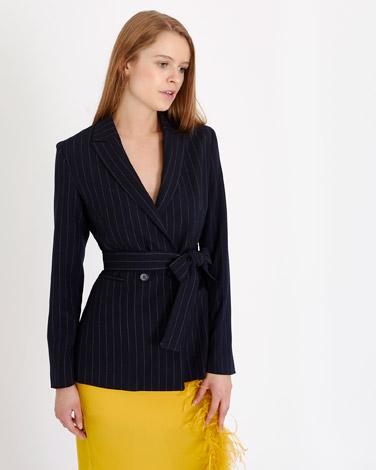 navySavida Pinstripe Tie Waist Blazer