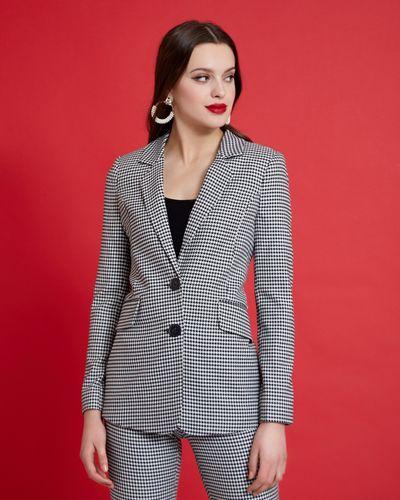Savida Houndstooth Pattern Blazer