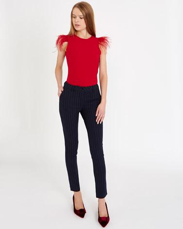 navySavida Pinstripe Trousers