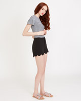 black Savida Scallop Shorts