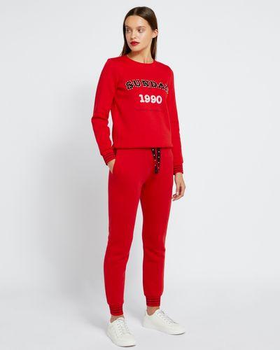 Savida Red Lurex Detail Sweatpants