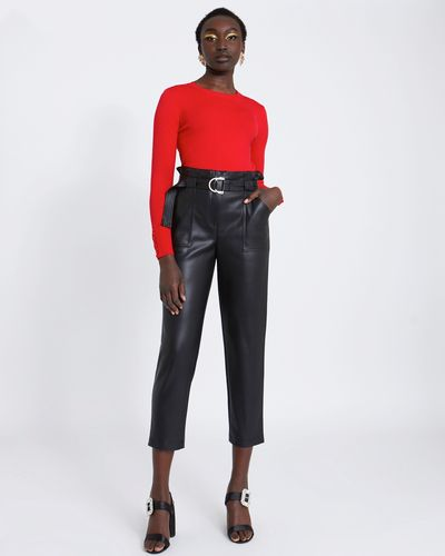 Savida PU Buckle Trousers
