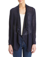 navy Lace Waterfall Cardigan