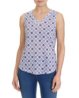 blue-white Printed Linen Mix Vest
