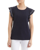 navy Frill Shoulder Top