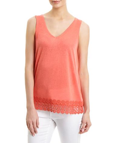 coralCrochet Hem Vest