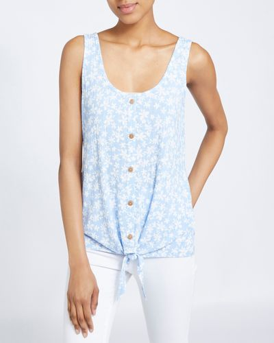Printed Button Front Vest