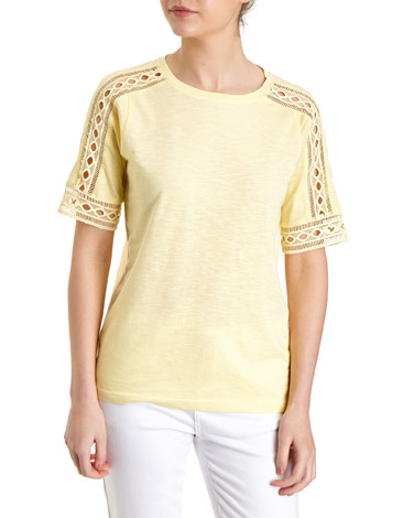 yellow Lace Trim Sleeve Top