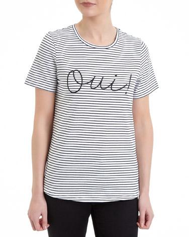 black-whiteOui Stripe T-Shirt