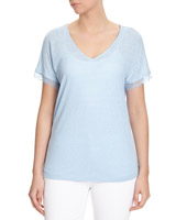 blue  Linen Mix Lace Trim T-Shirt