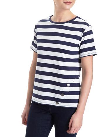 navyButton Hem T-Shirt