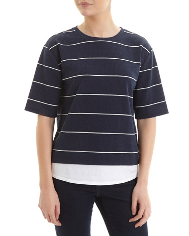 navyPrinted Textured Double Layer Top