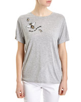 grey Embellished Bee T-Shirt