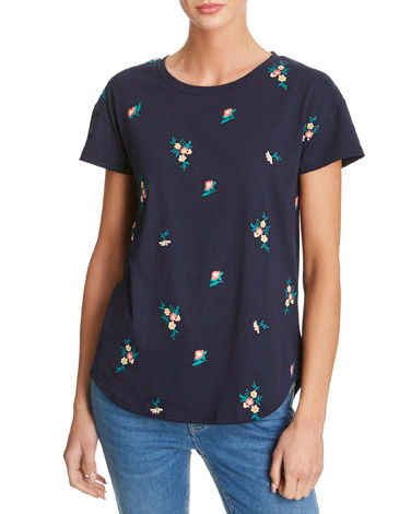 navy Floral Embroidered T-Shirt