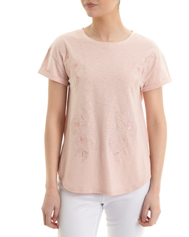 blushTonal Embroidered T-Shirt
