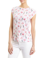 floral Printed Linen Mix T-Shirt