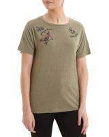 khaki Embellished Butterfly T-Shirt