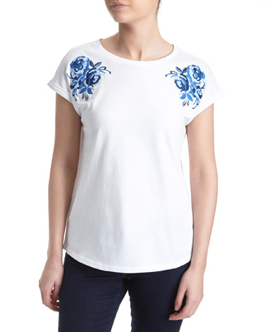 whiteEmbroidered Shoulder T-Shirt