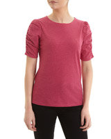 magenta Ruched Sleeve T-Shirt