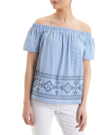 blue Stripe Embroidery Bardot Top
