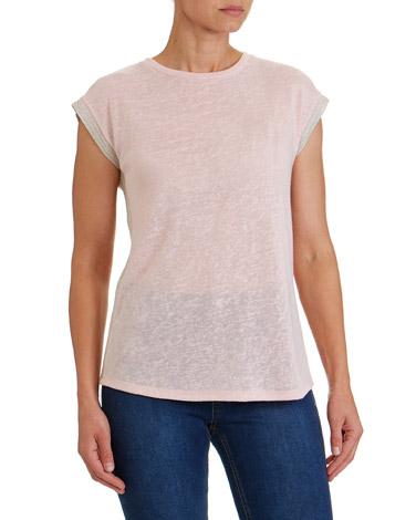 blushMetallic Trim T-Shirt
