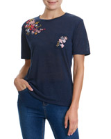 navy Embroidery T-Shirt