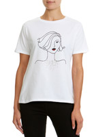 white Lady Embellished T-Shirt