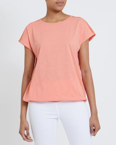 Lace Trim Bubble Hem T-Shirt thumbnail