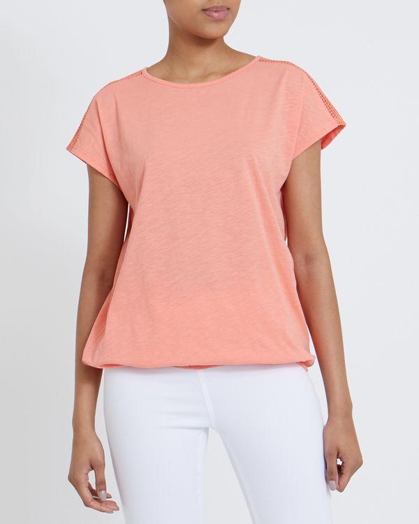 Lace Trim Bubble Hem T-Shirt