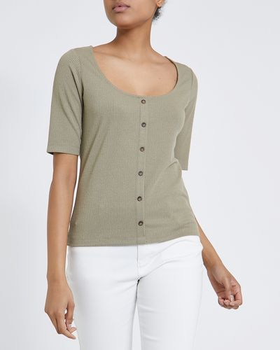 Rib Button T-Shirt