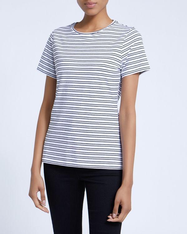Short-Sleeved Stripe Stretch T-Shirt
