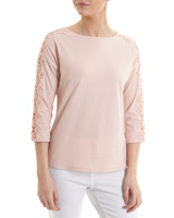 pink Lace Trim Three Quarter Sleeve Top