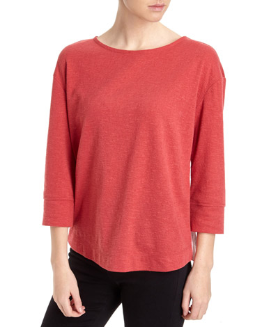 red Woven Stripe Long-Sleeved Top
