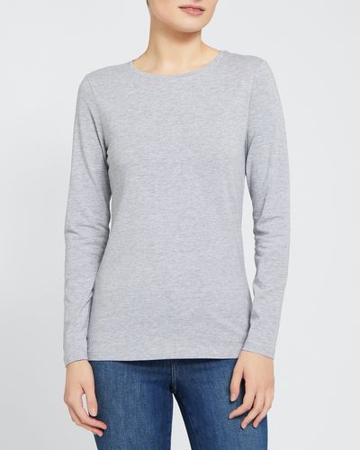 Long-Sleeved Stretch Crew-Neck Top thumbnail