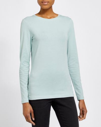 Long-Sleeved Stretch Crew Neck Top thumbnail