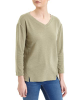 olive-green Solid Seam Detail Top