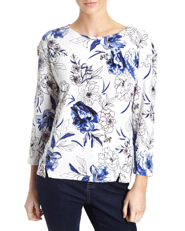 white-navyTextured Long-Sleeved Top