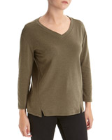 khaki Textured Long-Sleeved Top