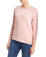 blush Crochet Raglan Sleeve Top